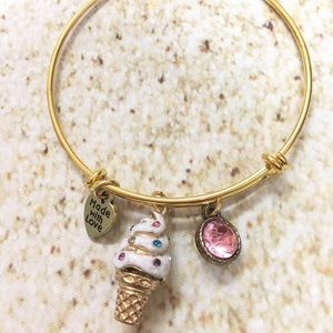 Adjustable gold plated ice cream charm bracelet